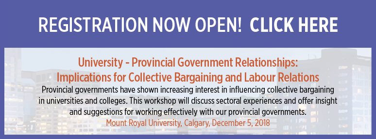 University - Provincial Government Relationships:   Implications for Collective Bargaining and Labour Relations